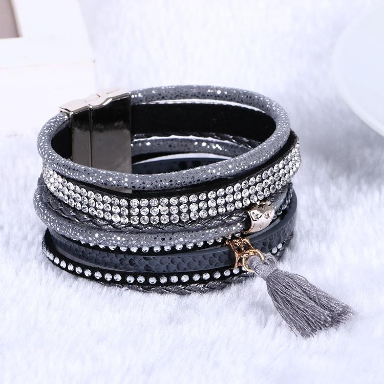 Moda unisex vender hot charme pulseiras tecelagem pulseiras de couro multicamada mulheres envoltório de presente charme boho bohemian bangle