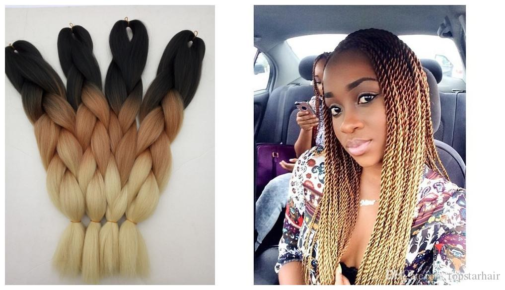 Ombre Synthetic Braiding Hair 2 Tone Dark Brown Blonde