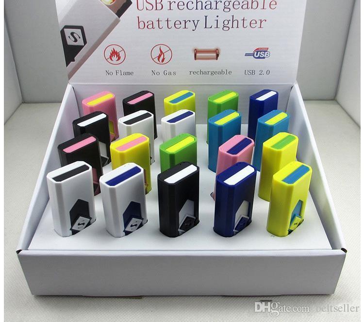 USB elektronische wiederaufladbare flammenlose Zigarre Zigarettenanzünder LED wiederaufladbare Zigarette flammenlose Feuerzeug winddicht USB-Feuerzeug