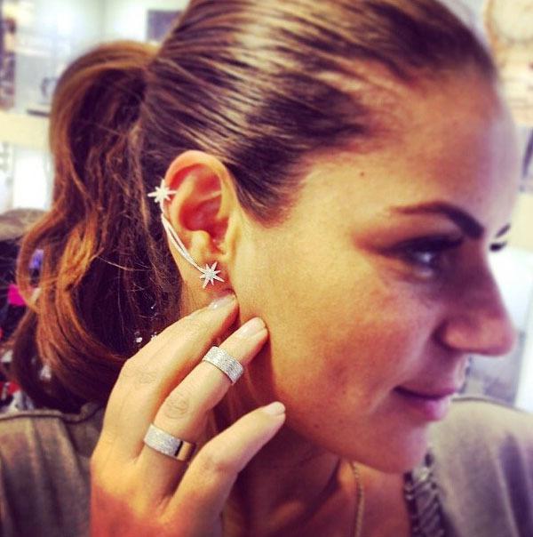 Clip su orecchini a vite stella di modo dell'orecchio del polsino orecchini d'avanguardia di personalità di lusso di clip le donne orecchie gioielli cuffing Clip su orecchini