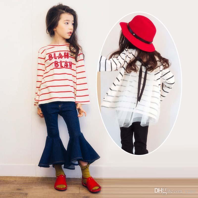 c13716fab364 2019 Korean Fashion Kids Clothing Stripe Long Sleeve Girls T Shirt ...