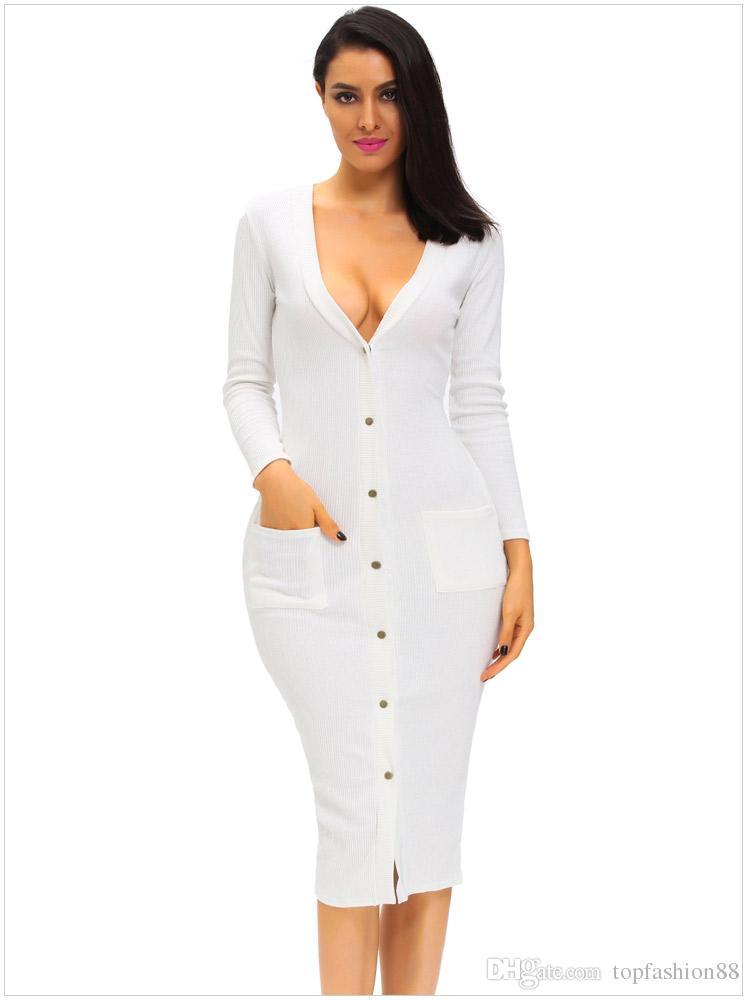 Mulheres Com Nervuras de malha sexy Com Decote Em V manga comprida cardigan Fino Vestido Para Senhoras Outono Preto Moda Bolso Branco Bodycon Vestidos Transporte da gota