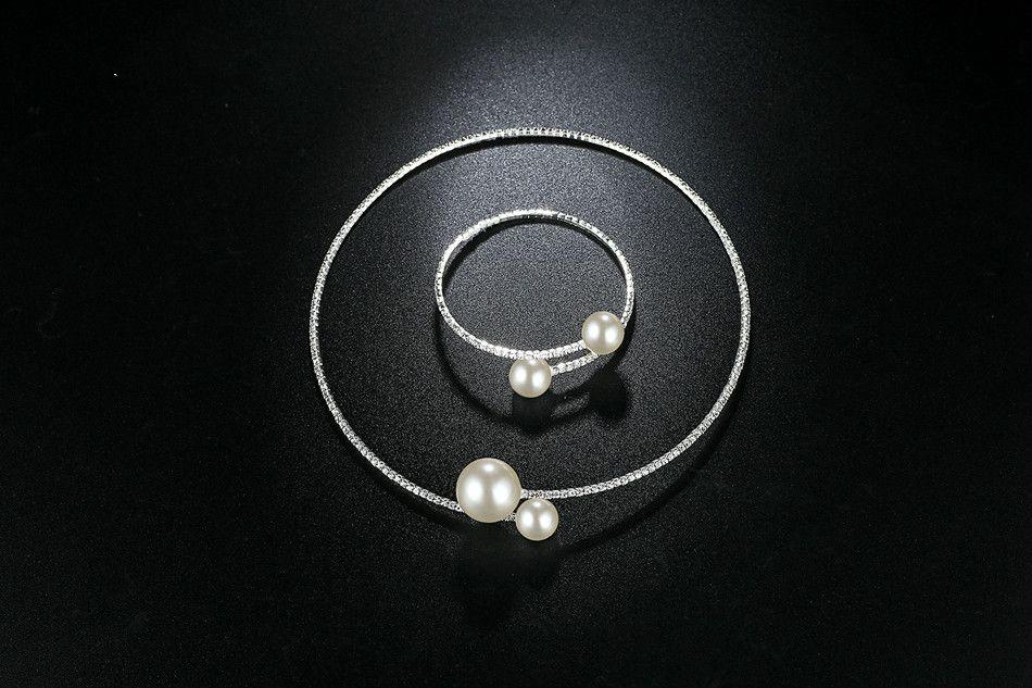 Marca Simples Simulado Pérola Conjuntos de Jóias de Noiva de Cristal Moda Jóias de Casamento Conjuntos de Colar Pulseira para As Mulheres