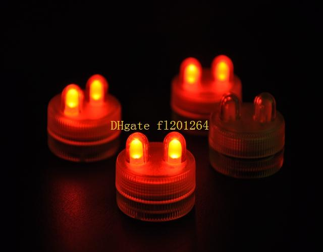 500 unids / lote envío gratis a prueba de agua sumergible alimentado por batería sumergible doble LED luces de té vela para el banquete de boda