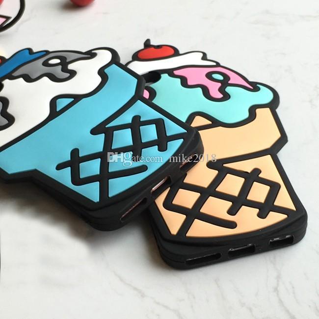 Para iphone 6 6 s case silicone 3d quente cupcake ice cream estilo bonito telefone celular macio de volta caso da tampa da pele para o iphone 6 6 s 4.7 polegada