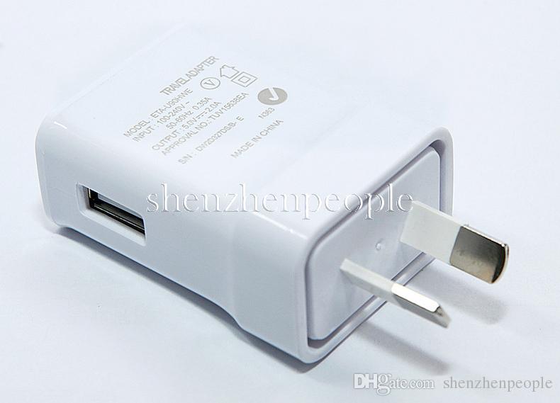 Yüksek kalite 5 V 2A yalıtım Için AU Tak Duvar Şarj Adaptörü Smartphone Galaxy S3 S4 S5 I9500 I9300 Not 2 3 4 N7100 beyaz