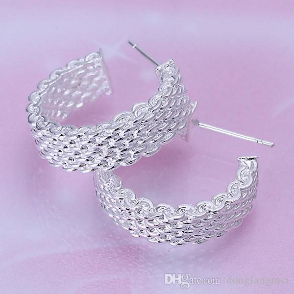 Yepyeni Örgü sterlin gümüş kaplama takı Kolye kadınlar için DN082, popüler 925 gümüş küpe