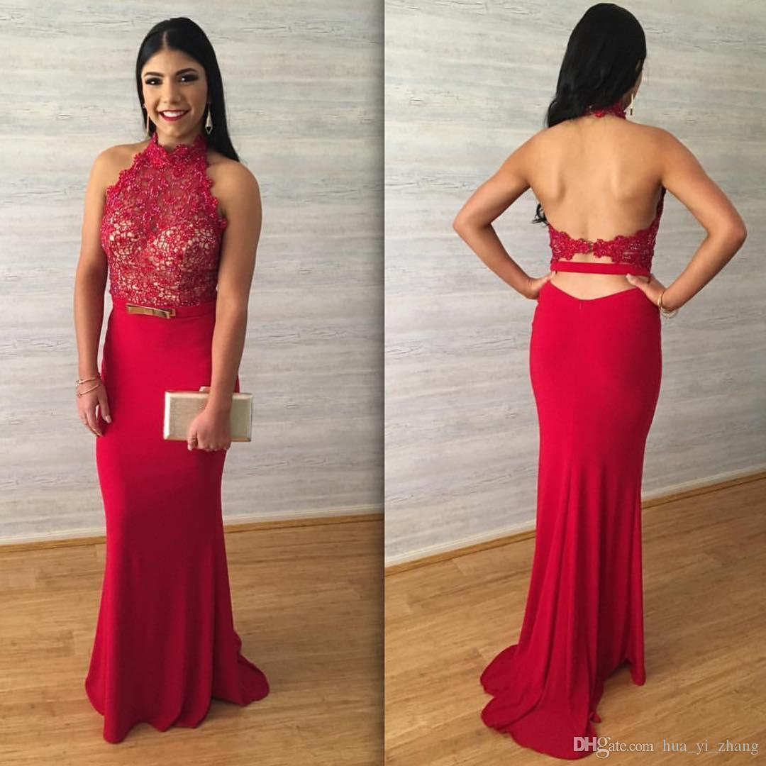 Cheap 2017 Red Lace Appliques Prom Dresses Halter Sleeveless ...