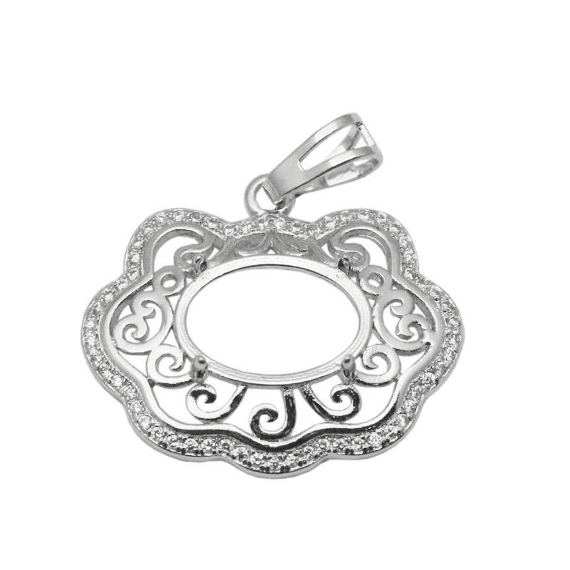 Beadsnice 9x13 Oval Stone Pendant Semi-mount Setting Sterling Silver Handmade Accessories Blank Pendant Base Cloud Shaped ID 34064