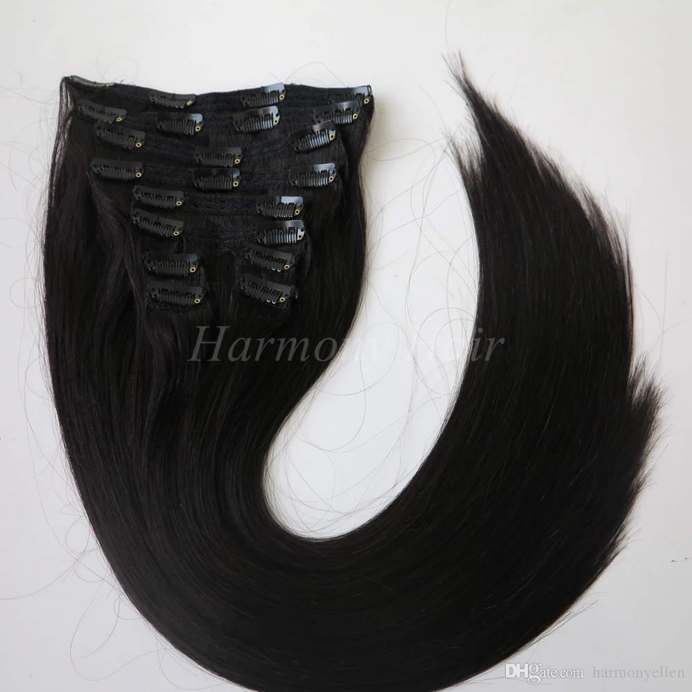 120g Clip In Human Hair Extensions Hot Sell Clip In Straight Hair
