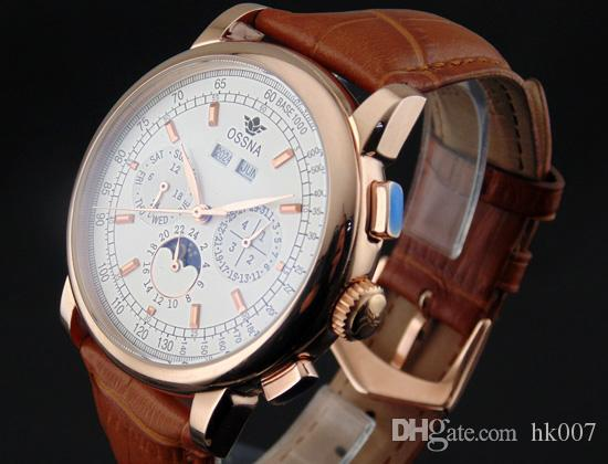1608 Ossna 42mm White Dial Rose Gold Stainless Steel Case Moon Phase Multifunction Auto Watch Gift For Men