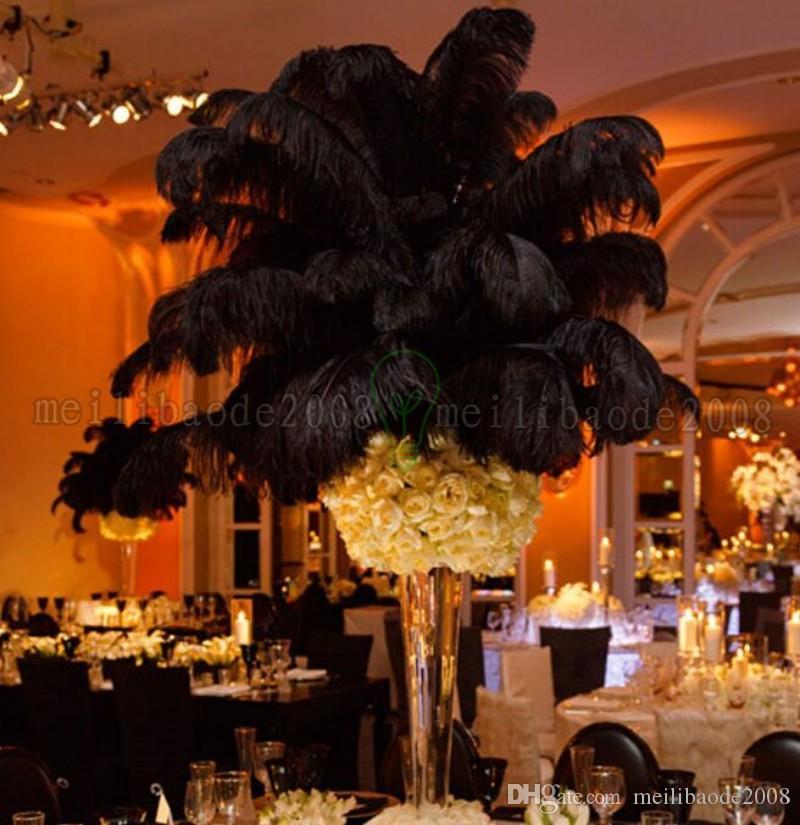 Nowy czarny strusie piórko pióropusz na ślub centerpiece Boże Narodzenie pióro ślub domu świąteczny wystrój stołowy party dostawa myy