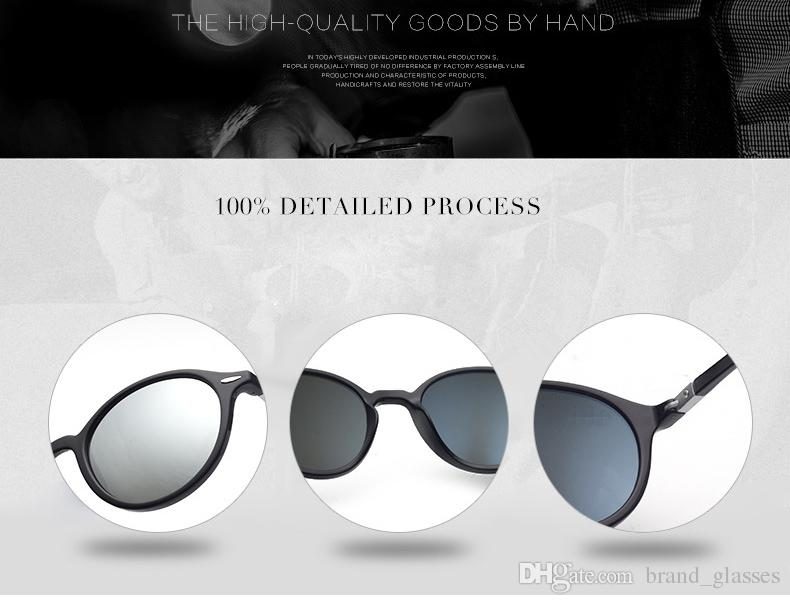 Round Sunglasses Men Women Fashion Steampunk Glasses Brand Designer Plank frame Retro Vintage Sun glasses UV400 lens and free cases and box