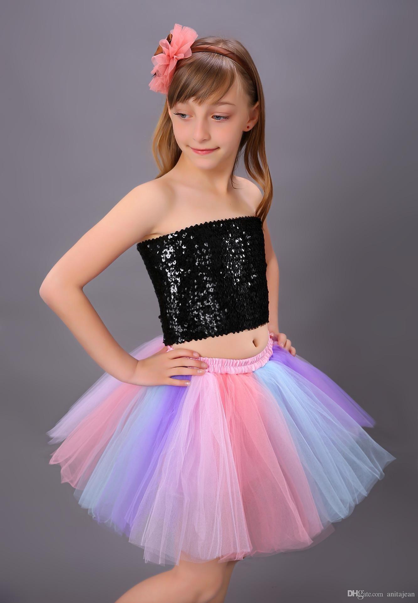 2019 Quality Girls Layered Tulle Princess Tutu Skirts