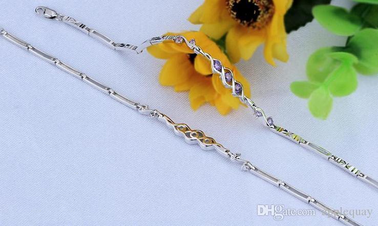 Braccialetti Real Pure 925 Gioielli in argento sterling White Gold di lusso Crystal Diamante Bangles Moda Beautiful Party Regali di San Valentino 6pz