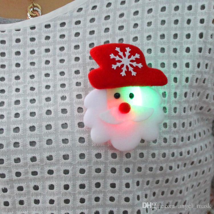Joyas de Navidad LED con luces Broche Broche para el pelo Decoración Iluminar juguetes Brillante Insignia Suministros para fiestas
