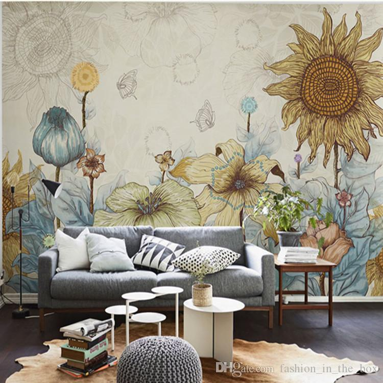 Sunflower photo wallpaper vintage wall murals 3d custom for 3d interior wall murals