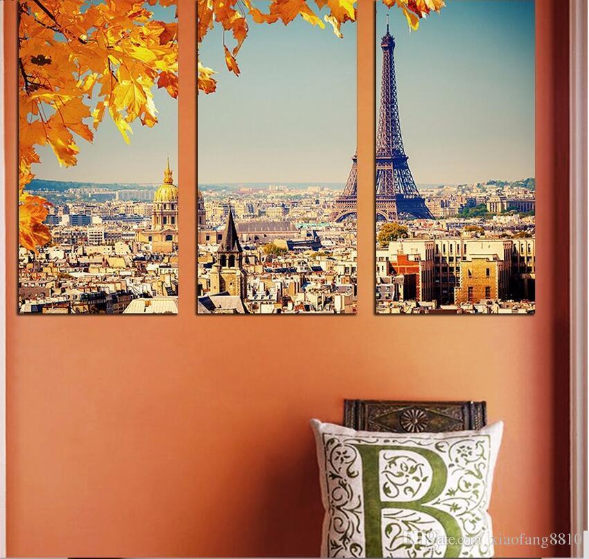 Cidade moderna Paris folha de plátano desenho cena laranja Decoração Da Parede Da Torre Eiffel pintura de parede Pendurado decoração da casa sem moldura