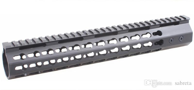 15 pulgadas Slim KeyMod Free Float Handguard Mount con Steel Barrel Nut Desmontable Rail fit Scope Laser Flashlight