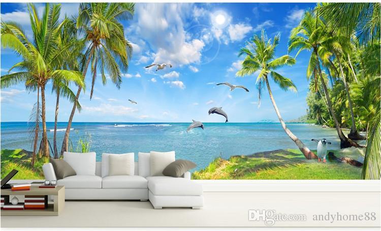 3D Liebe Delphin Strand Landschaft Bild Maldives TV Hintergrundbilder TV Sofa Wohnzimmer dekorative Tapete
