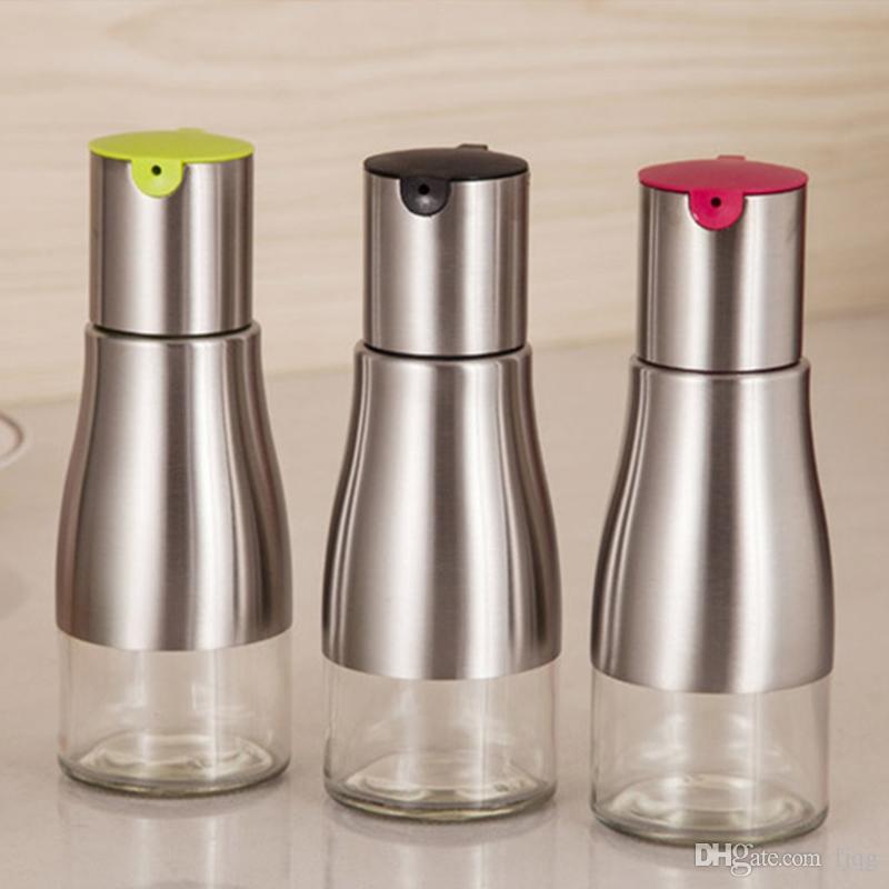 320ml Stainless Steel Oil Bottles Seasoning Oil Container Press Type  Storage Bottle Sauce Vinegar Wine Glass Bottle 50 Useful Kitchen Gadgets  Amazing ...