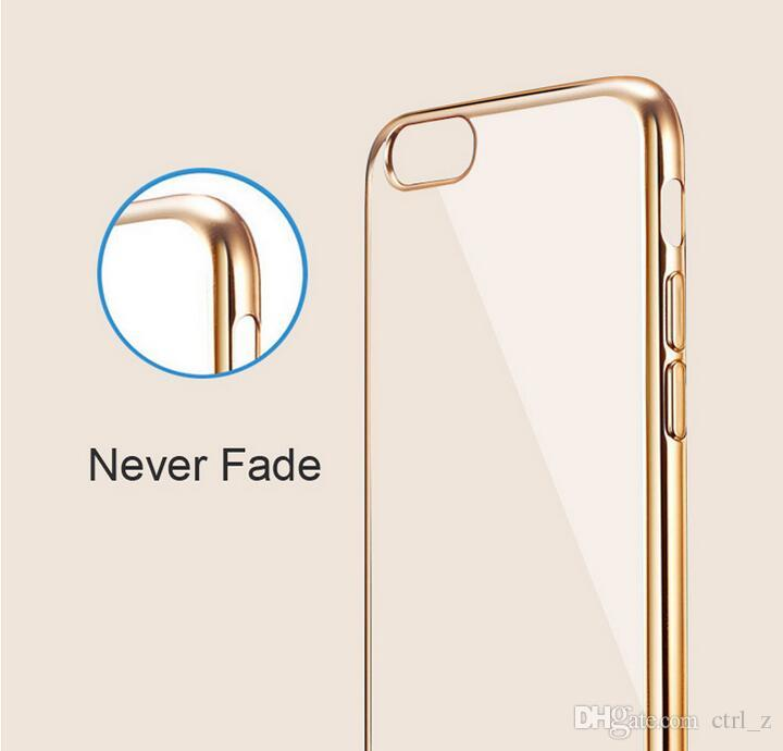 iphone 7 lusso ultra sottile Clear Crystal Gomma placcante placcatura TPU custodia morbida iphone 7 6 6s plus