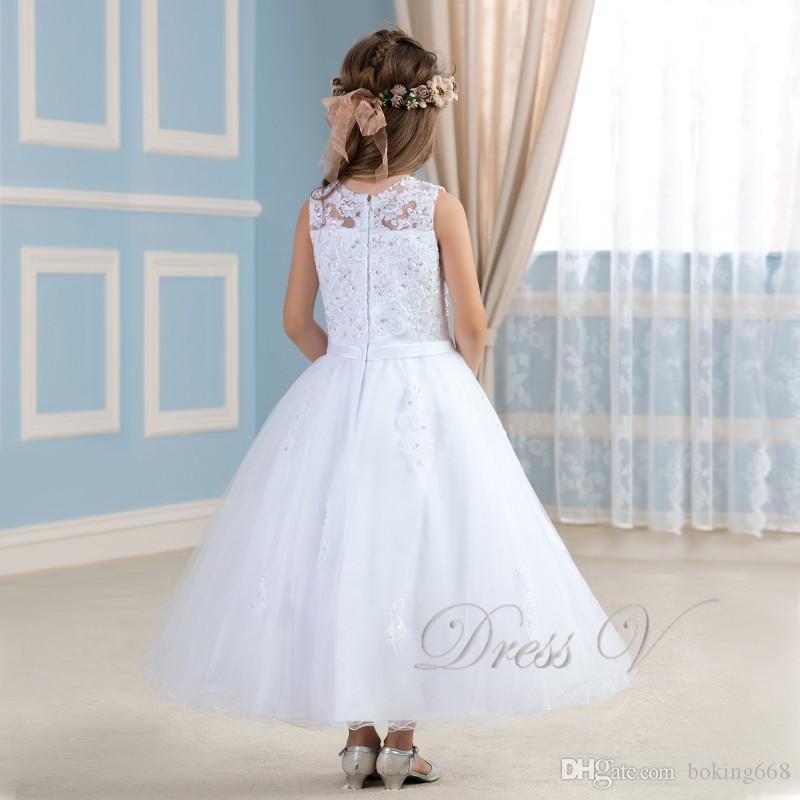 2017 Lovely White Flower Girl Dresses To First Communion Lace Applique Ivory Dress Girls Pageant Baby Party Gowns Kids Frock Designs