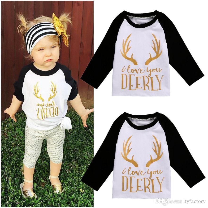 NUEVO Xmas Kids Toddler i love you deerly letras impresas Niñas Ropa de moda para bebés Tops de manga larga camiseta blanca Chica casual camiseta linda