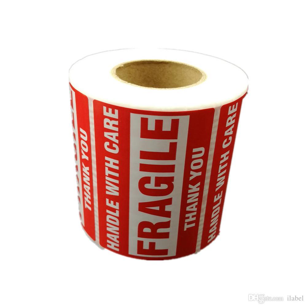 500 stücke Verpackung Warnung Stikus Zerbrechlicher Griff mit Pflege mit danken Ihnen Versandetikett Aufkleber 1 Rolle 2x3 Zoll 51 x 76mm