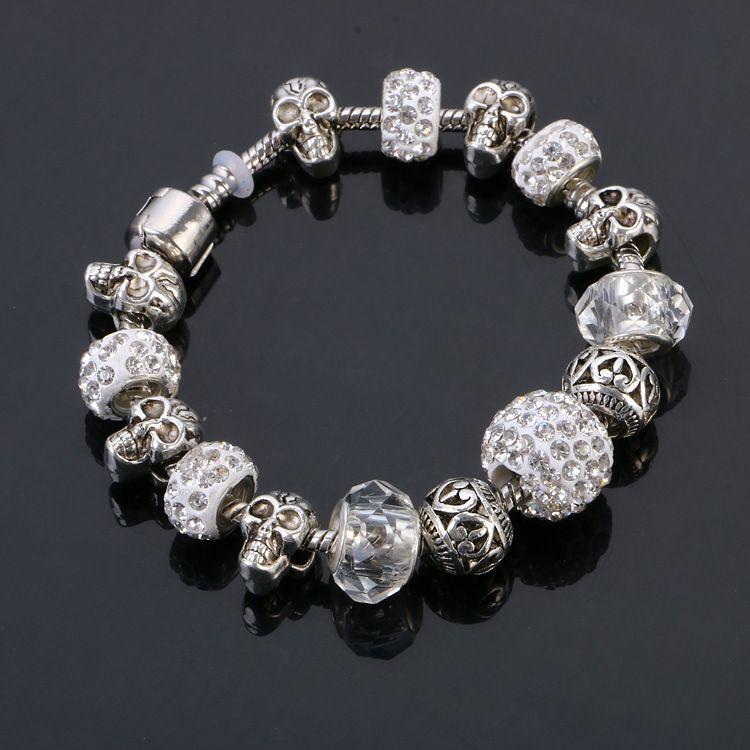 Feine Naturstein Armband Kristall Perle Armreif Armbänder Retro Legierung Schädel Kopf Vintage Strass Ball Schmuck 9 Farben DHL Verschiffen
