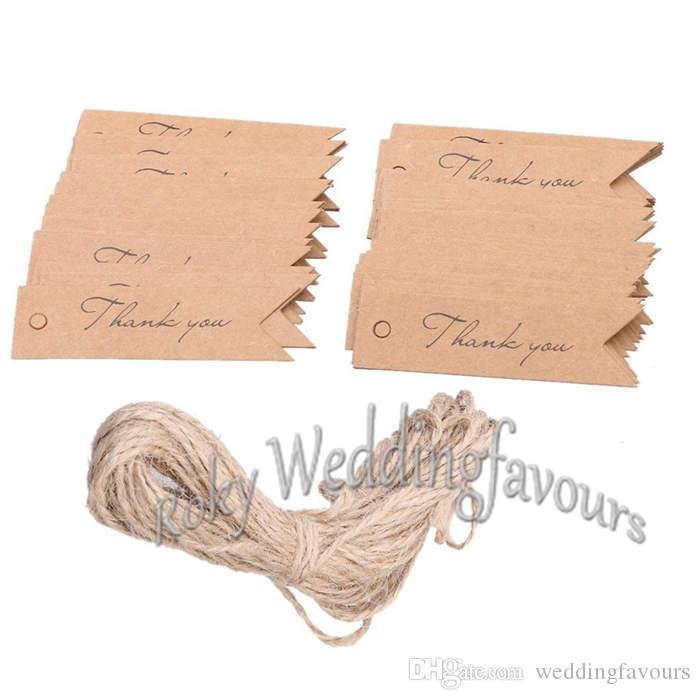 Kraft Paper Thank You Tags Brown/White 2x7cm Wedding Gift Flag Tags Free Twines DIY Supplies Paper Label