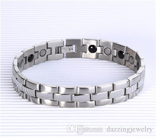 DFJ019 Bracciali da uomo in acciaio inossidabile oro lucido con magnetica cura della salute magnetica in acciaio inossidabile lucido