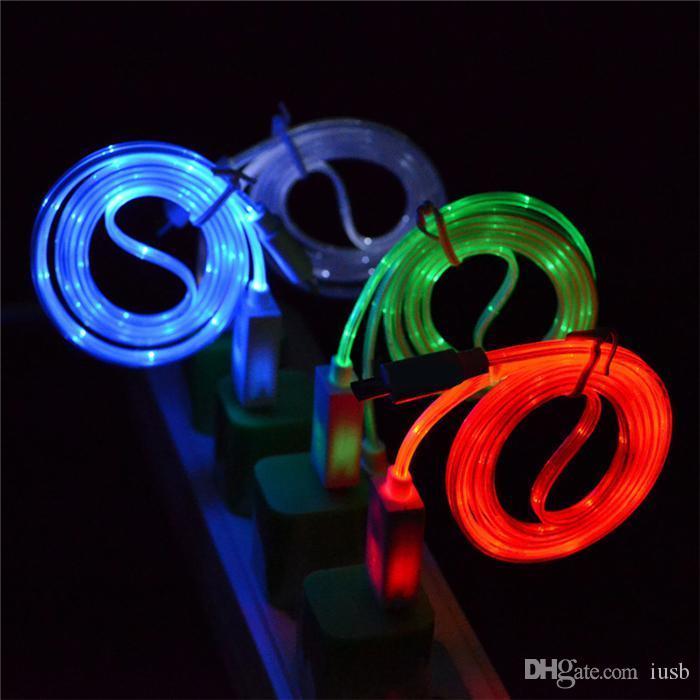 Luz visível led cabo usb 1 m / 3ft flat noodling piscando cabos de iluminação cabos carregador para samsung galaxy s4 s6 s7 nota 4 5 6 7 telefones htc
