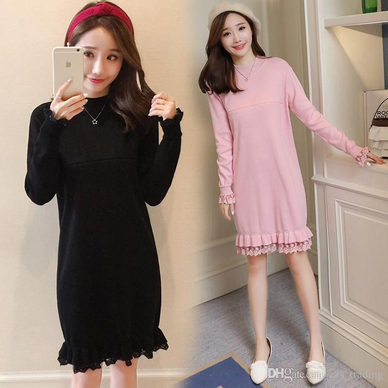 1a2742149b4 2017 Autumn And Winter New Korean Fashion Maternity Dress Loose Long  Sleeves Collar Long Lace Pregnant Women Dress Comfortable Warm Soft Online  with ...