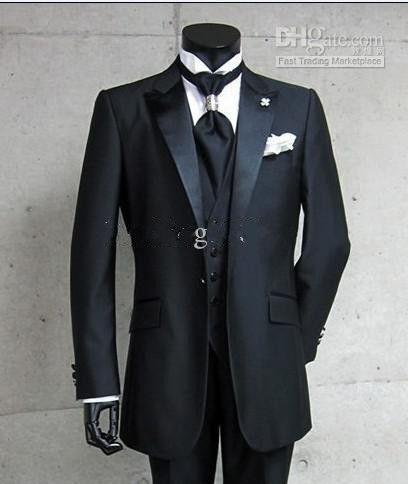 Foto real Un botón Negro Novio Esmoquin Pico Solapa Satén Mejor hombre Groomsman Hombres Trajes de boda Novio chaqueta + pantalones + corbata + chaleco
