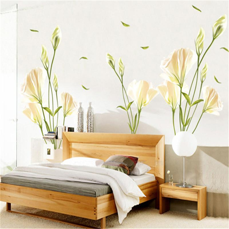 Tree Sticker Wall Decor 135x97cm wild lily flower tree wall stickers for kids rooms living