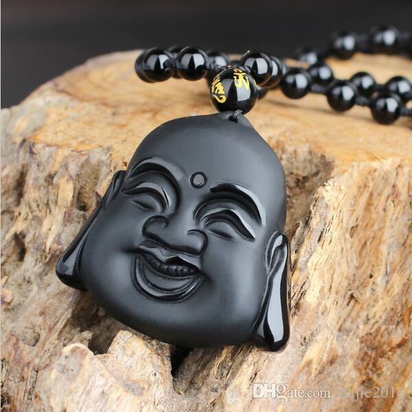 DJ Jewelry 100% Natural Black Obsidian Carving Maitreya Buddha Head Pendant Women Men's Lucky Amulet Jewelry Pendants With Beads Necklace