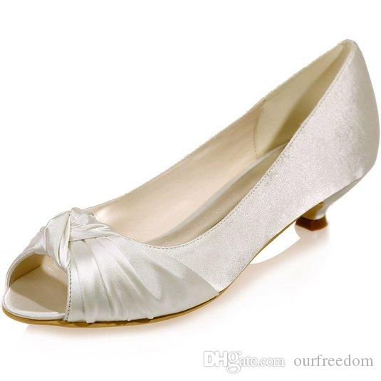 Cheap Women's Ivory Satin Wedding Bridal Shoes Open Peep Toe Low Heels for Evening Prom ZXF0700-16A