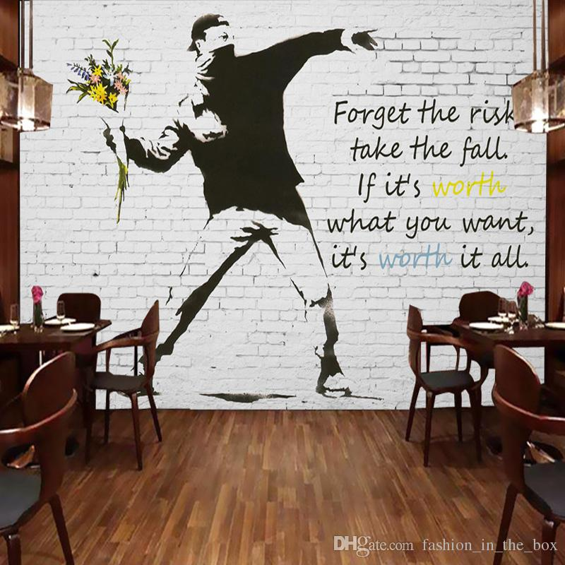 Graffiti Artist Banksy Wall Murals Custom 3d Photo Wallpaper Bricks  Wallpaper For Walls 3d Bedroom Office Sofa Tv Backdrop Modern Room Decor In  Hd ...
