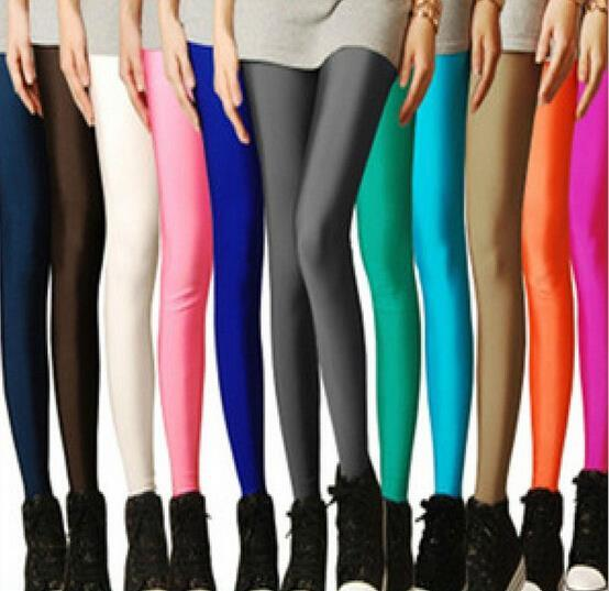 2017 Sexy Solid Candy Neon Leggings Plus Size Women's Leggings High Stretched Elastic Leggings Fitness Ballet Dancing Paint
