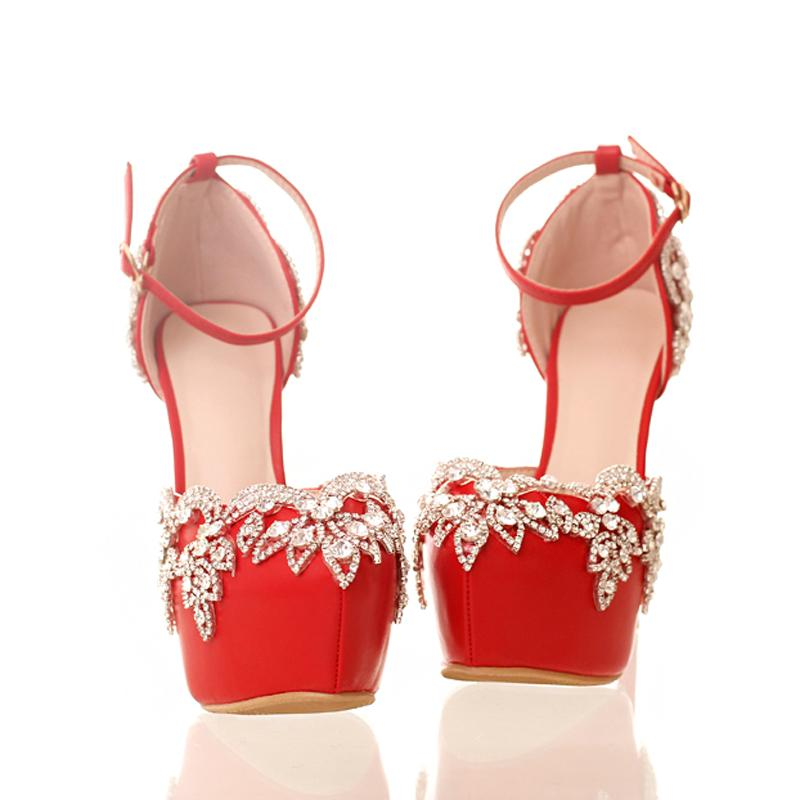 Red High Heels for Wedding with Rhinestone Lady Nightclub Formal Dress Shoes with Ankle Straps Platform Bridesmaid Shoes