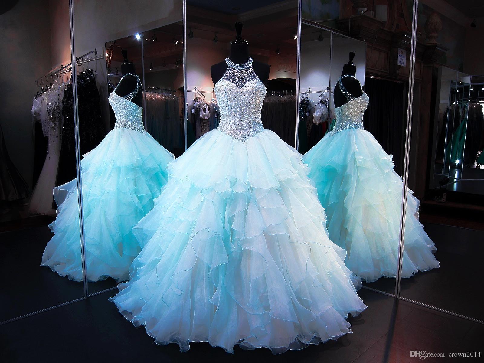 2020 Blue Ball Gown Quinceanera Abiti Perle perline Corsetto Organza Ruffles Gioielli Collo Lace Up Back Puffy Lungo Prom Dolce 16 Abiti