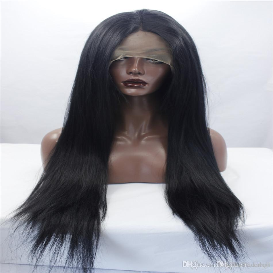 LACE FRONT WIGS Long hair Silvia natural silk straight silk heat-resistant fiber long black hair women synthetic lace front wigs kabell wigs