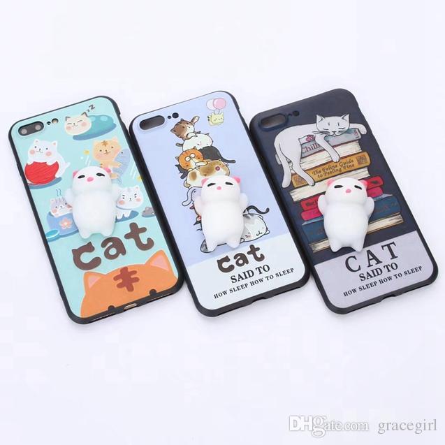 3d boneca tpu macio case para iphone 8 7 6 6 s 5 se 5 s huawei p10 plus mate9 honra 8 9 Gato Dos Desenhos Animados Bola Moda Squeeze telefone Capa Da Pele