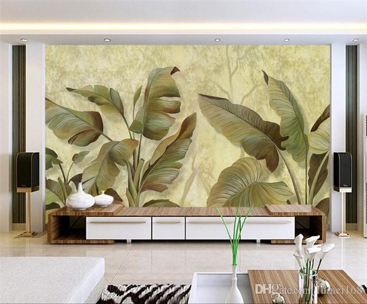 Muz Yaprağı Duvar Duvar Fotoğraf Kağıdı Oturma Odası içinDuvar Sanat Dekor Duvar Kağıdı Resimleri Stereoskopik 3d Güneydoğu Tasarım Bırakır