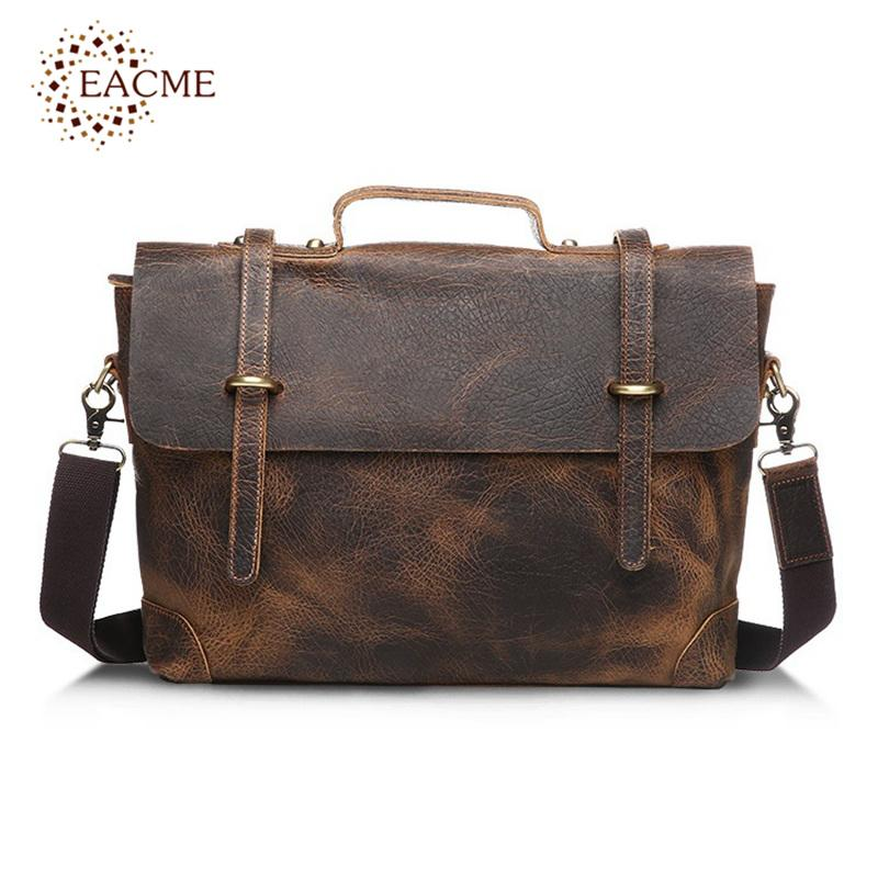 6be6ccbadf9f Wholesale EACME Fashion Business Handbag Men S Briefcase Leather Men Bags  Notebook Laptop Bag 15 Inch Messenger Bag Vintage Elephant Grain Backpack  ...