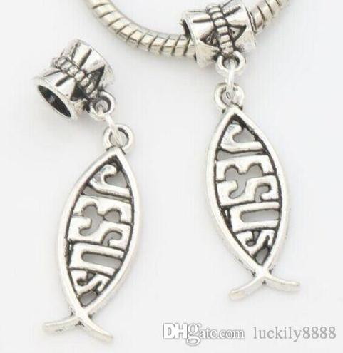 Тибетский Серебряная рыба Иисус подвески кулон мотаться бусины для изготовления ювелирных изделий браслет