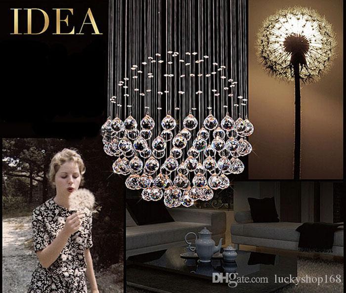 Fabrika fiyatı!!! Yeni Modern LED Top K9 Kristal Avizeler Moda Tasarım Lambaları Lüks Ampul Işıkları Asılı Tel Otel Aydınlatma DHL 1 ADET