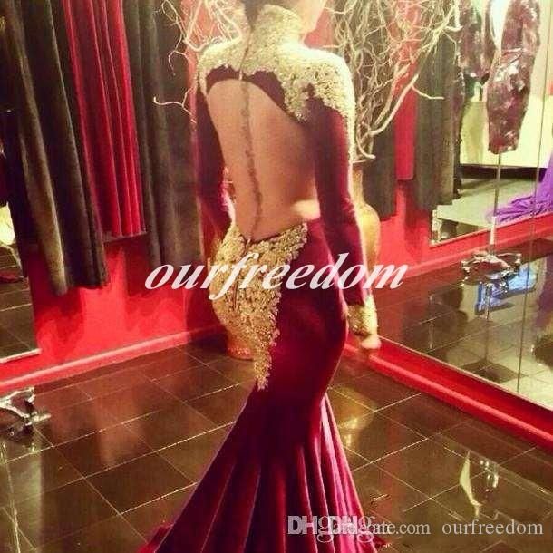 Fashion 2019 Mermaid Prom Evening Dresses with Long Sleeve Burgundy High Neck Gold Sequins Beaded Long Formal Pageant Gowns Sweep Train