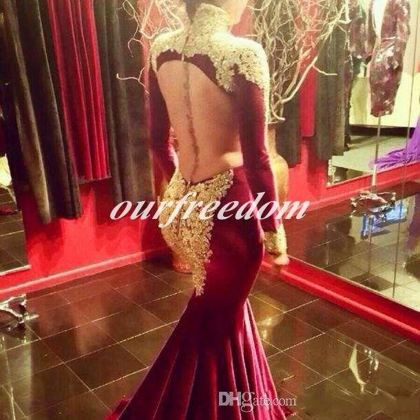 Mode 2019 Mermaid Prom Robes de Soirée avec Manches Longues Bordeaux Col Haut Paillettes Or Perlé Longue Formelle Pageant Robes Robes Balayage Train